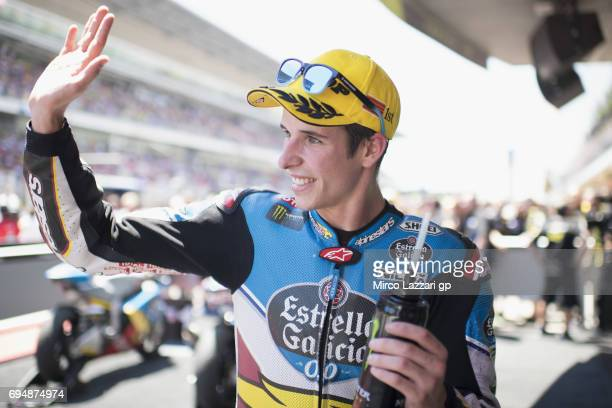 Alex Marquez of Spain and EG 00 Marc VDS celebrates the victory under the podium at the end of the Moto2 race during the MotoGp of Catalunya Race at...