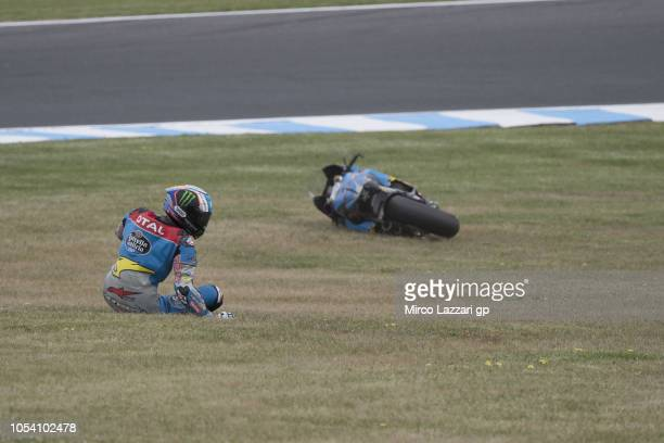 Alex Marquez of Spain and EG 00 Marc VDS crashed out during the MotoGP qualifying during qualifying for the 2018 MotoGP of Australia at Phillip...