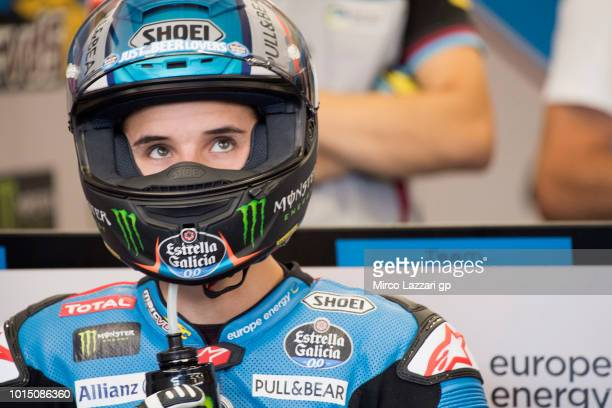 Alex Marquez of Spain and EG 00 Marc VDS drinks in box during the MotoGp of Austria Qualifying at Red Bull Ring on August 11 2018 in Spielberg Austria