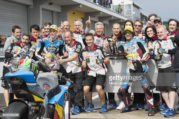 Alex Marquez of Spain and EG 00 Marc VDS Franco Morbidelli of Italy and EG 00 Marc VDS with team celebrate at the end of the qualifying practice...