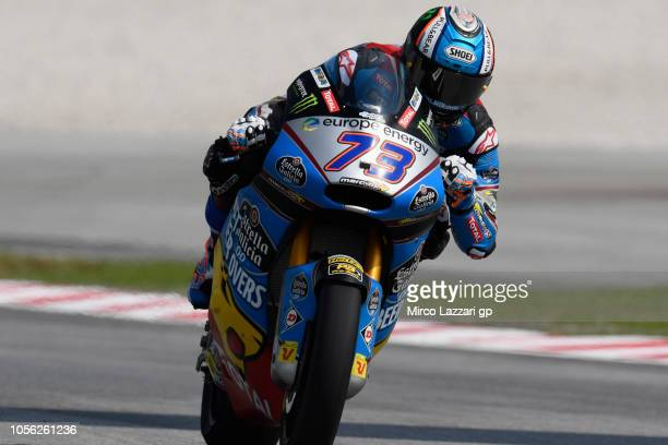 Alex Marquez of Spain and EG 00 Marc VDS heads down a straight during the MotoGP Of Malaysia Free Practice at Sepang Circuit on November 2 2018 in...