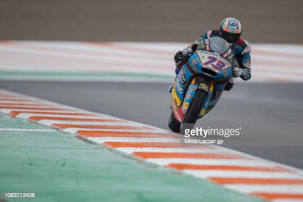 Alex Marquez of Spain and EG 00 Marc VDS heads down a straight during the Moto2 race during the MotoGP Of Valencia Race at Ricardo Tormo Circuit on...
