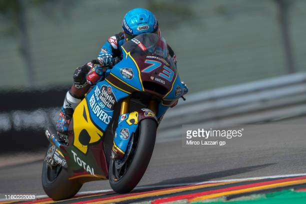 Alex Marquez of Spain and EG 00 Marc VDS heads down a straight during the MotoGp of Germany Free Practice at Sachsenring Circuit on July 05 2019 in...