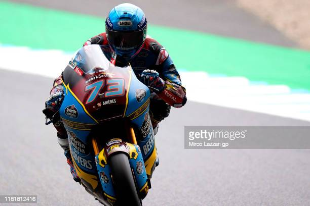Alex Marquez of Spain and EG 0,0 Marc VDS heads down a straight during the MotoGP of Japan - Free Practice at Twin Ring Motegi on October 18, 2019 in...