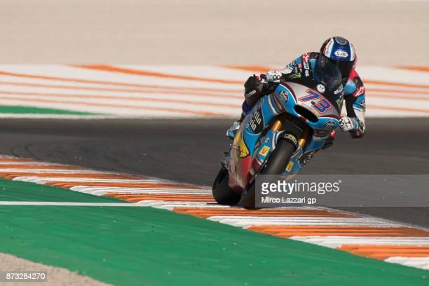 Alex Marquez of Spain and EG 00 Marc VDS heads down a straight during the Moto2 race during the Comunitat Valenciana Grand Prix Moto GP at Comunitat...