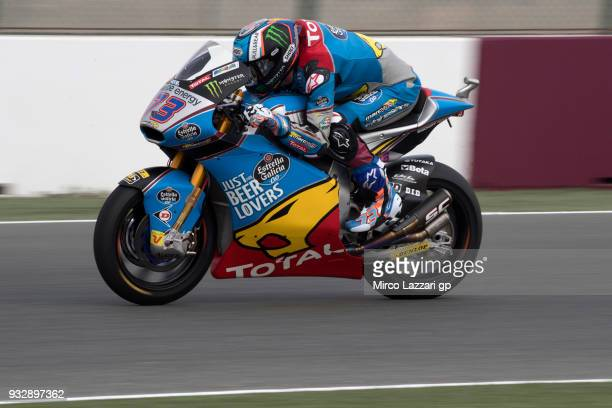 Alex Marquez of Spain and EG 00 Marc VDS heads down a straight during the MotoGP of Qatar Free Practice at Losail Circuit on March 16 2018 in Doha...