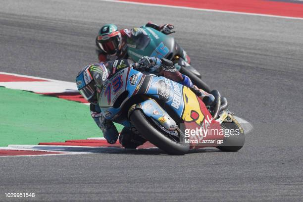 Alex Marquez of Spain and EG 00 Marc VDS leads the filed during the Moto2 race during the MotoGP of San Marino Race at Misano World Circuit on...