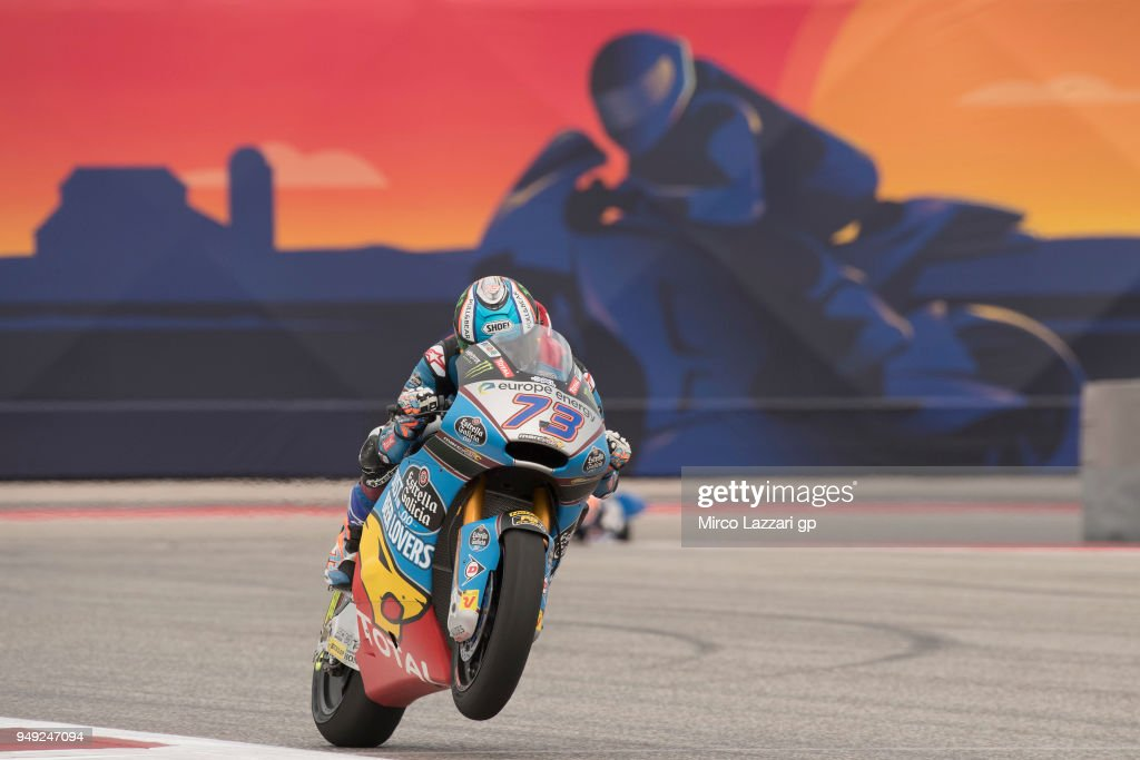 Alex Marquez of Spain and EG 0,0 Marc VDS lifts the front wheel during the MotoGp Red Bull U.S. Grand Prix of The Americas - Free Practice at Circuit of The Americas on April 20, 2018 in Austin, Texas.