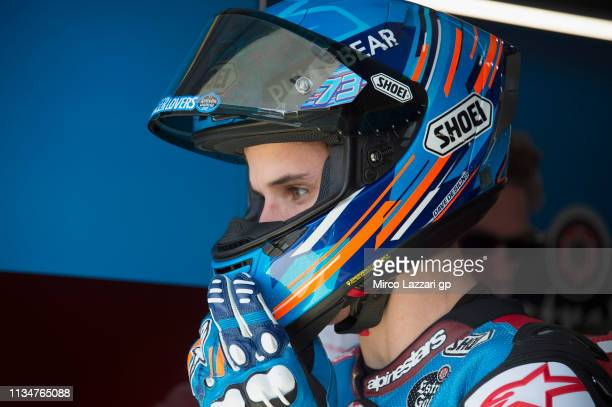 Alex Marquez of Spain and EG 00 Marc VDS looks on in box during the MotoGP of Qatar Qualifying at Losail Circuit on March 09 2019 in Doha Qatar