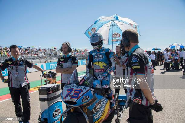 Alex Marquez of Spain and EG 00 Marc VDS prepares to start on the grid during the Moto2 race during the MotoGP of Aragon Race at Motorland Aragon...
