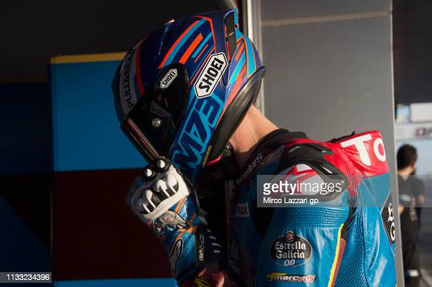 Alex Marquez of Spain and EG 00 Marc VDS returns in box during the Moto2 Moto3 Tests Day Two at Losail Circuit on March 02 2019 in Doha Qatar
