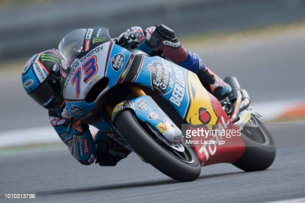 Alex Marquez of Spain and EG 00 Marc VDS rounds the bend during the MotoGp of Czech Republic Free Practice at Brno Circuit on August 3 2018 in Brno...