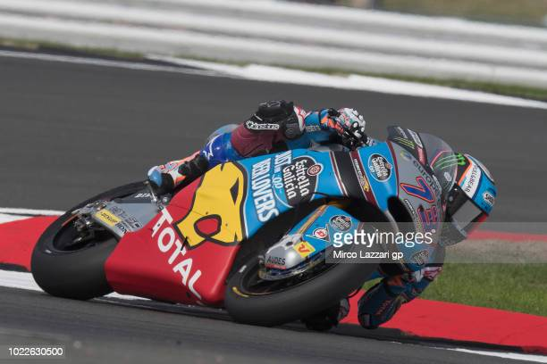 Alex Marquez of Spain and EG 00 Marc VDS rounds the bend during the MotoGp Of Great Britain Free Practice at Silverstone Circuit on August 24 2018 in...