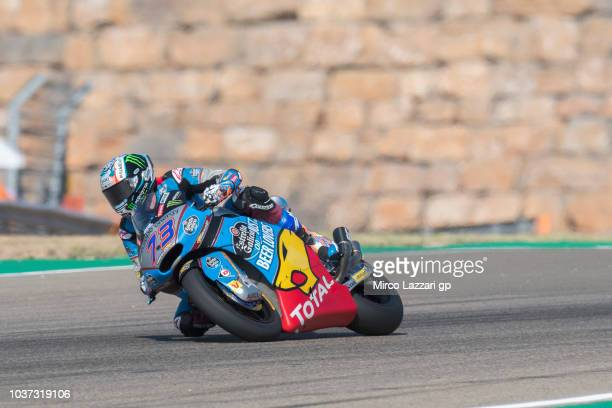 Alex Marquez of Spain and EG 00 Marc VDS rounds the bend during the MotoGP of Aragon Free Practice at Motorland Aragon Circuit on September 21 2018...
