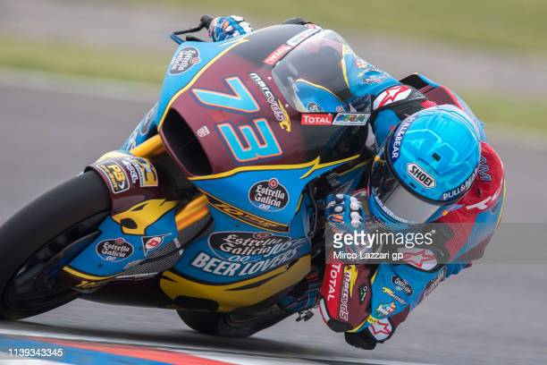Alex Marquez of Spain and EG 00 Marc VDS rounds the bend during the MotoGp of Argentina Qualifying on March 30 2019 in Rio Hondo Argentina