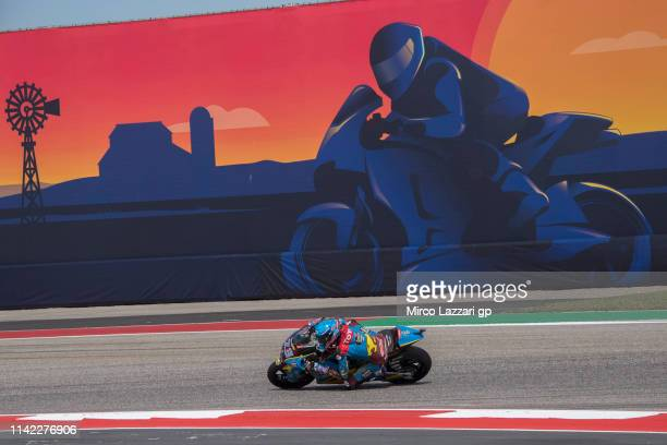 Alex Marquez of Spain and EG 00 Marc VDS rounds the bend during the MotoGp Red Bull US Grand Prix of The Americas Free Practice at Circuit of The...