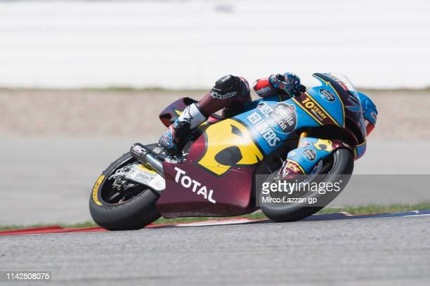 Alex Marquez of Spain and EG 00 Marc VDS rounds the bend during the MotoGp Red Bull US Grand Prix of The Americas Qualifying at Circuit of The...
