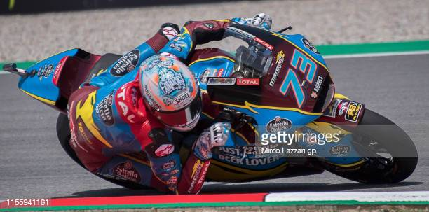 Alex Marquez of Spain and EG 00 Marc VDS rounds the bend during the MotoGp of Catalunya Free Practice at Circuit de Catalunya on June 14 2019 in...