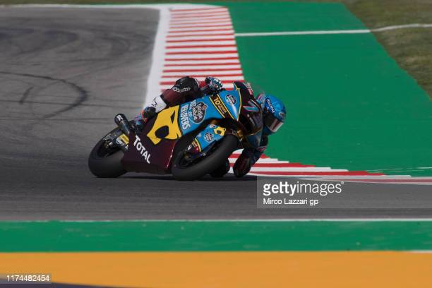 Alex Marquez of Spain and EG 00 Marc VDS rounds the bend during the MotoGp of San Marino Free Practice at Misano World Circuit on September 13 2019...