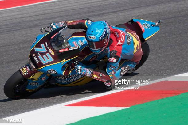 Alex Marquez of Spain and EG 00 Marc VDS rounds the bend during the MotoGp of San Marino Qualifying at Misano World Circuit on September 14 2019 in...