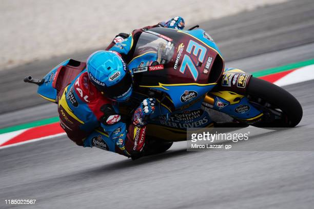 Alex Marquez of Spain and EG 00 Marc VDS rounds the bend during the MotoGP of Malaysia Qualifying at Sepang Circuit on November 02 2019 in Kuala...