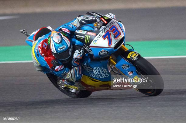 Alex Marquez of Spain and EG 00 Marc VDS rounds the bend during the MotoGP of Qatar Free Practice at Losail Circuit on March 16 2018 in Doha Qatar