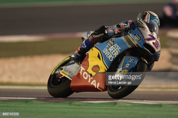 Alex Marquez of Spain and EG 00 Marc VDS rounds the bend during the Moto2 race during the MotoGP of Qatar Race at Losail Circuit on March 18 2018 in...