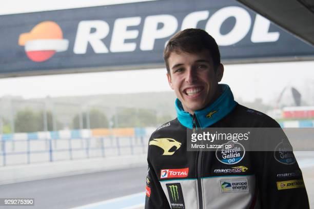 Alex Marquez of Spain and EG 00 Marc VDS smiles in pit during the Moto2 Moto3 Tests In Jerez at Circuito de Jerez on March 8 2018 in Jerez de la...