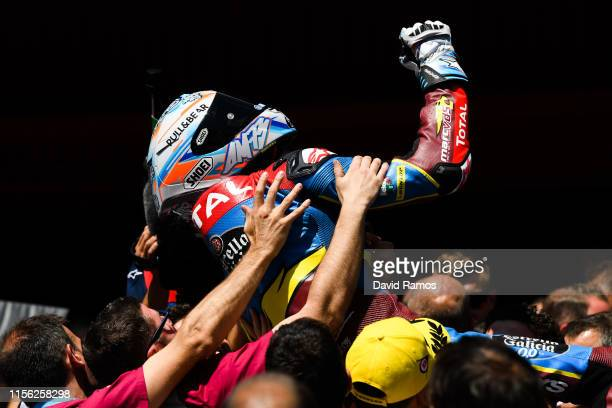 Alex Marquez of Spain and Estrella Galicia 0,0 Marc VDS celebrates after winning the Moto2 race during the MotoGP Gran Premi Monster Energy de...