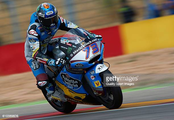 Alex Marquez of Spain and Estrella Galicia 00 Marc VDS in action during the moto2 race during the MotoGP of Spain Race at Motorland Aragon Circuit on...