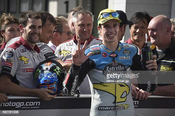 Alex Marquez of Spain and Estrella Galicia 00 Marc VDS Racing Team celebrates the third place at the end of the qualifying practice during the MotoGp...