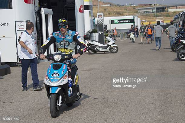 Alex Marquez of Spain and Estrella Galicia 00 Marc VDS Racing Team rides the scooter in paddock during the MotoGP of Spain Free Practice at Motorland...