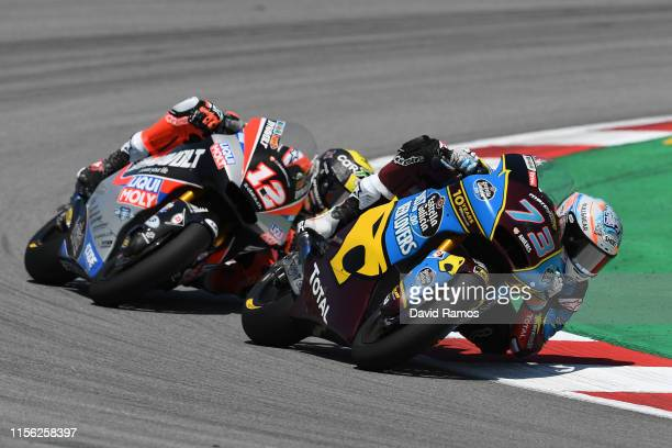 Alex Marquez of Spain and Estrella Galicia 00 Marc VDS rides in front of Thomas Luthi of Switzerland and Dynavolt Intact GP to win the Moto2 race...