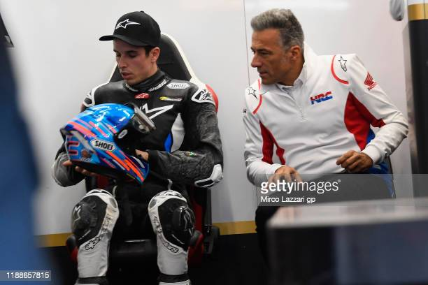 Alex Marquez of Spain and LCR Honda checks the helmet in box after crashed out during the pre-season MotoGP Tests in Valencia at Ricardo Tormo...