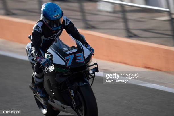 Alex Marquez of Spain and LCR Honda returns in box during the MotoGP Tests in Valencia at Ricardo Tormo Circuit on November 20, 2019 in Valencia,...