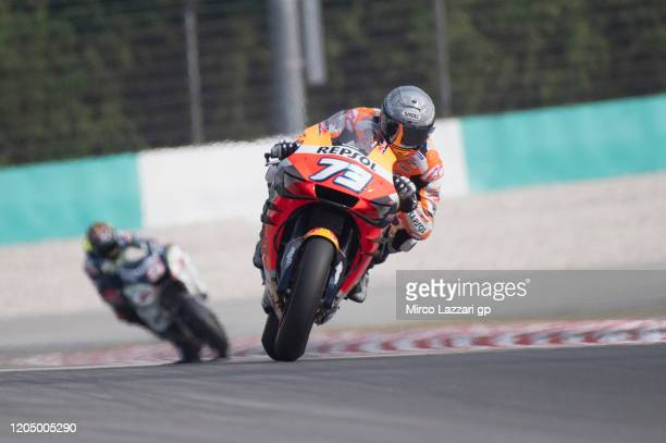 Alex Marquez of Spain and Repsol Honda Honda heads down a straight during the MotoGP Pre-Season Tests at Sepang Circuit on February 09, 2020 in Kuala...