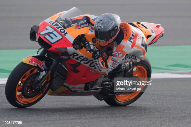 Alex Marquez of Spain and Repsol Honda Honda heads down a straight during the MotoGP Tests at Losail Circuit on February 24, 2020 in Doha, Qatar.