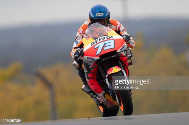 Alex Marquez of Spain and Repsol Honda Honda heads down a straight during the MotoGP of France: Free Practice at Bugatti Circuit on October 09, 2020...