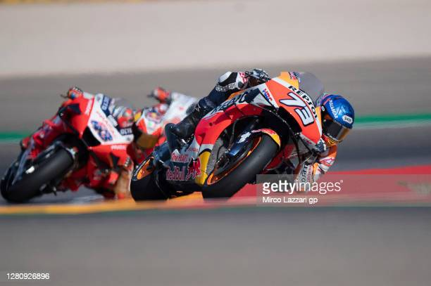 Alex Marquez of Spain and Repsol Honda Honda leads the field during the MotoGP race during the MotoGP of Aragon at Motorland Aragon Circuit on...