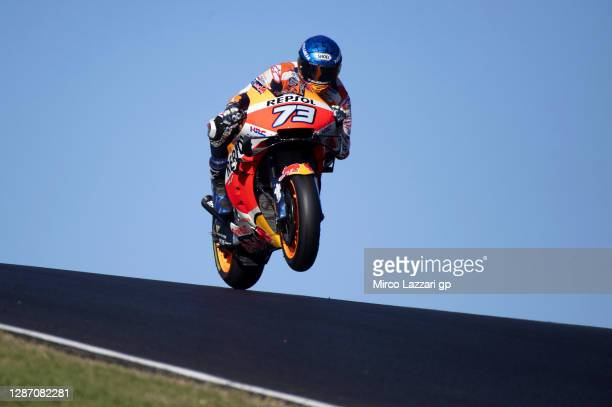 Alex Marquez of Spain and Repsol Honda Honda lifts the front wheel during the MotoGP race during the MotoGP of Portugal at Algarve Motor Park on...
