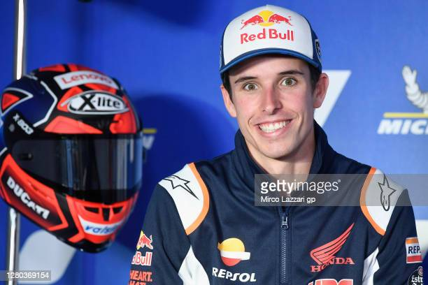 Alex Marquez of Spain and Repsol Honda Honda smiles during the press conference pre-event during the MotoGP of Aragon: Previews ahead of the MotoGP...
