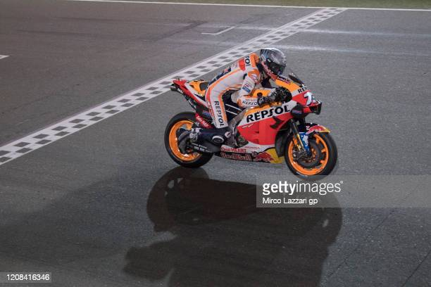 Alex Marquez of Spain and Repsol Honda Honda tests the start on the grid during the MotoGP Tests at Losail Circuit on February 24, 2020 in Doha,...