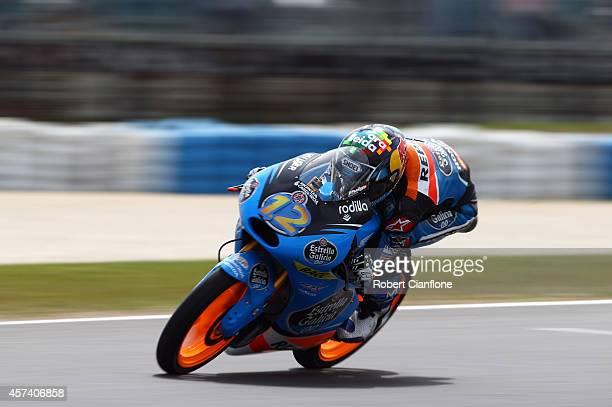 Alex Marquez of Spain rides the Estella Galica OO Honda during qualifying for the 2014 MotoGP of Australia at Phillip Island Grand Prix Circuit on...