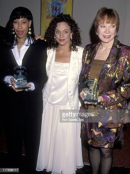 Alex Martin actress Valerie Harper and actress Shirley MacLaine attend the Love Is Feed Everyone Presents the Hunger Hero Awards to Whoopi Goldberg...