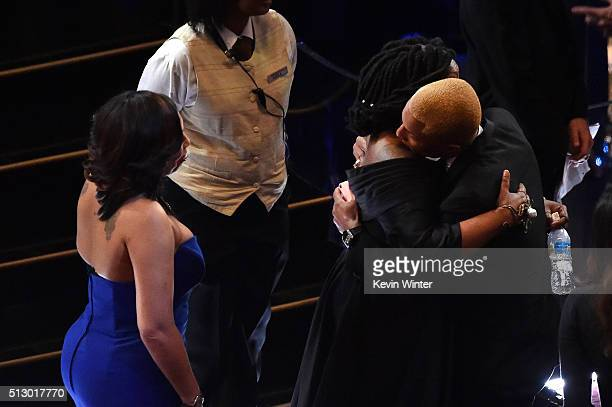 Alex Martin actress Whoopi Goldberg and Pharrell Williams onstage during the 88th Annual Academy Awards at the Dolby Theatre on February 28 2016 in...