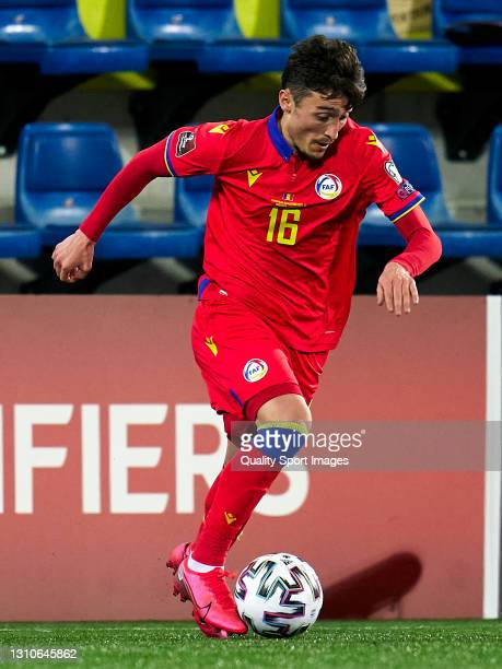 Alex Martinez of Andorra controls the ball during the FIFA World Cup 2022 Qatar qualifying Group I match between Andorra and Hungary on March 31, at...