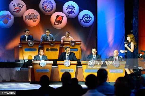 Alex Martins of the Orlando Magic Vlade Divac of the Sacramento Kings Josh Kroenke of the Denver Nuggets and Jeff Bowers of the Detroit Pistons...