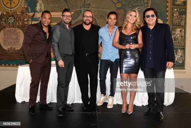 Alex Matos, Luis Enrique, Desmond Child, Julio Iglesias Jr., Isa Souza and Rudy Perez attend the Press Conference to announce nominees for 2014...