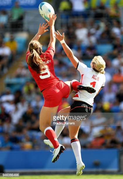 Alex Matthews of England and Brittany Benn of Canada challenge for the ball in the WomenÕs Bronze Medal Final match between England and Canada during...