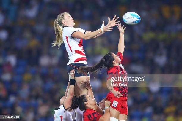 COAST QUEENSLAND APRIL Alex Matthews of England and Kayleigh Powell of Wales compete for the ball in the lineout during the women's Rugby Sevens...
